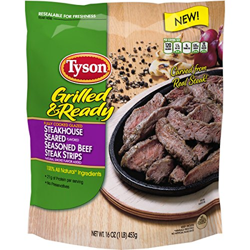 Cooked Beef - Tyson Grilled & Ready Fully Cooked Steakhouse Seasoned Beef Steak Strips, 16 oz. (Frozen)
