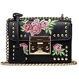 New Rivet Chain Shoulder Bag handbags Embroidered flowers Design FemaleLadies Handbag crossbody bag