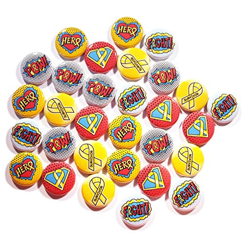 Childhood Cancer Mini Buttons, Superhero/Comic Book Style (1