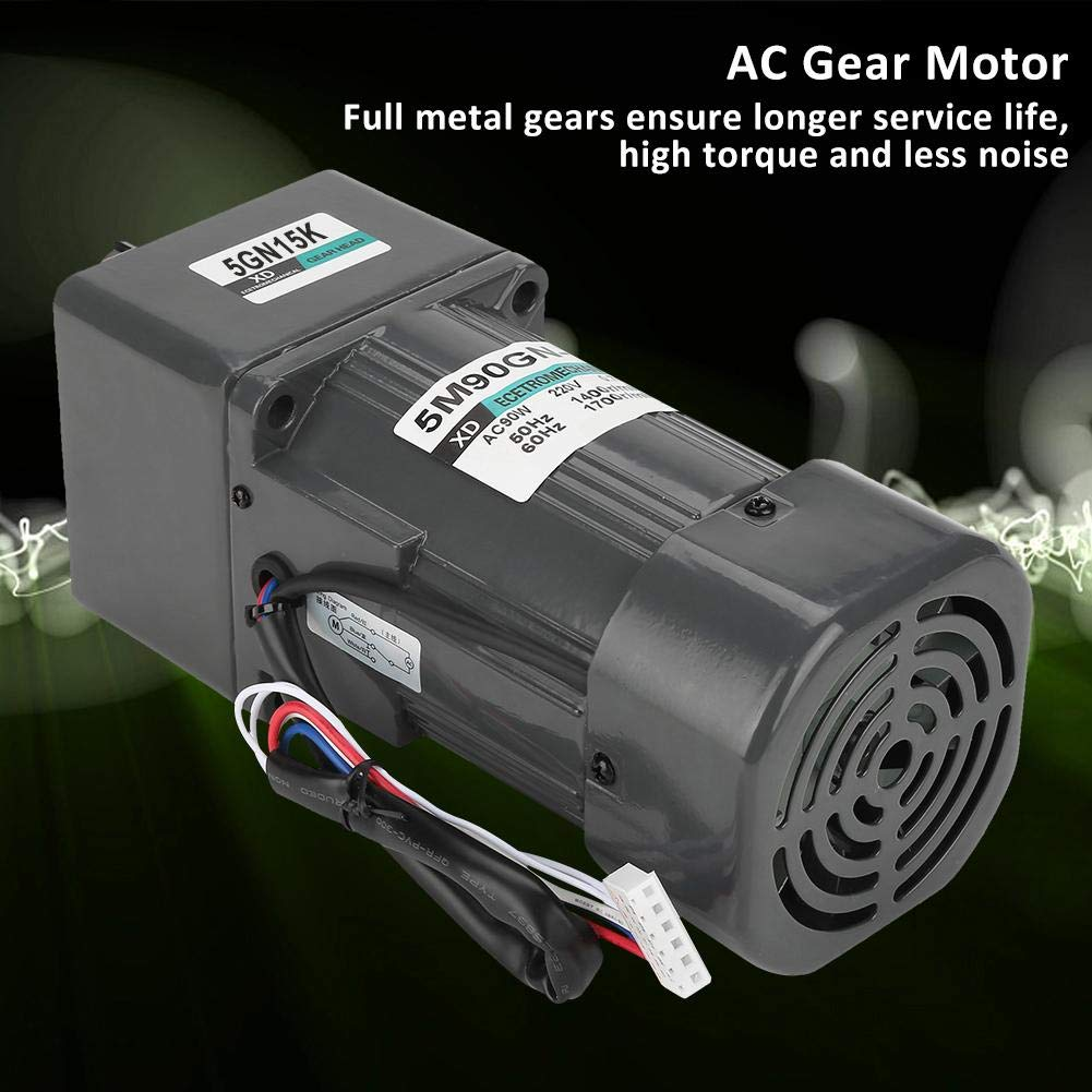 Gear Reduction Motor 150K 5M90GN-C Gear Reduction Motor CW//CCW Motor with Gearbox Governor AC 220V 90W