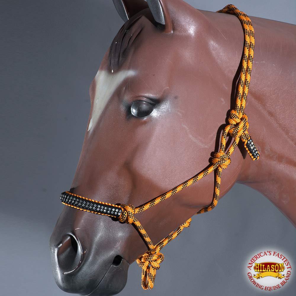 HILASON Orange Black Horse Halter Braided Poly Rope Crystal Accents Western Tack