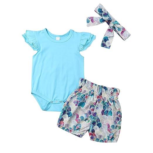 5eb8e4d78 Infant Baby Girl Plain Ruffle Short Sleeve Cotton Romper Bodysuit Mermaid  Shorts +Headband Summer Clothes