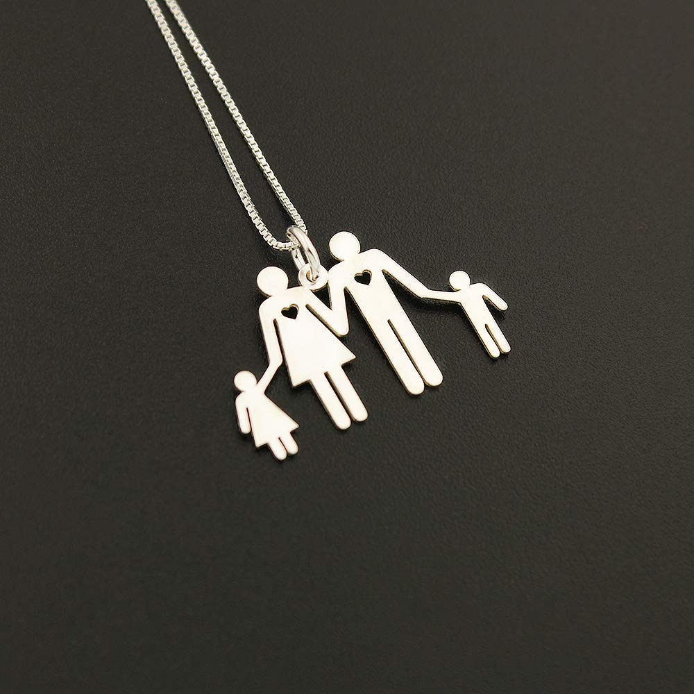 Father and son Family Necklace personalized pendant Choose your family member world cutest necklace gift parents gift idea F1