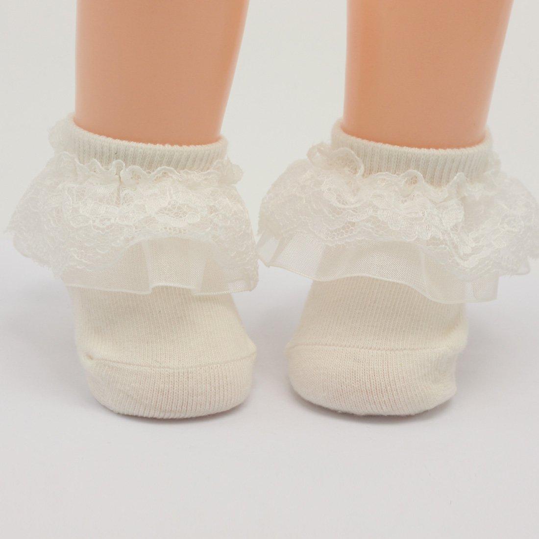 Nihao Baby baptism socks for girls newborn white lace dress christening socks 3 packs