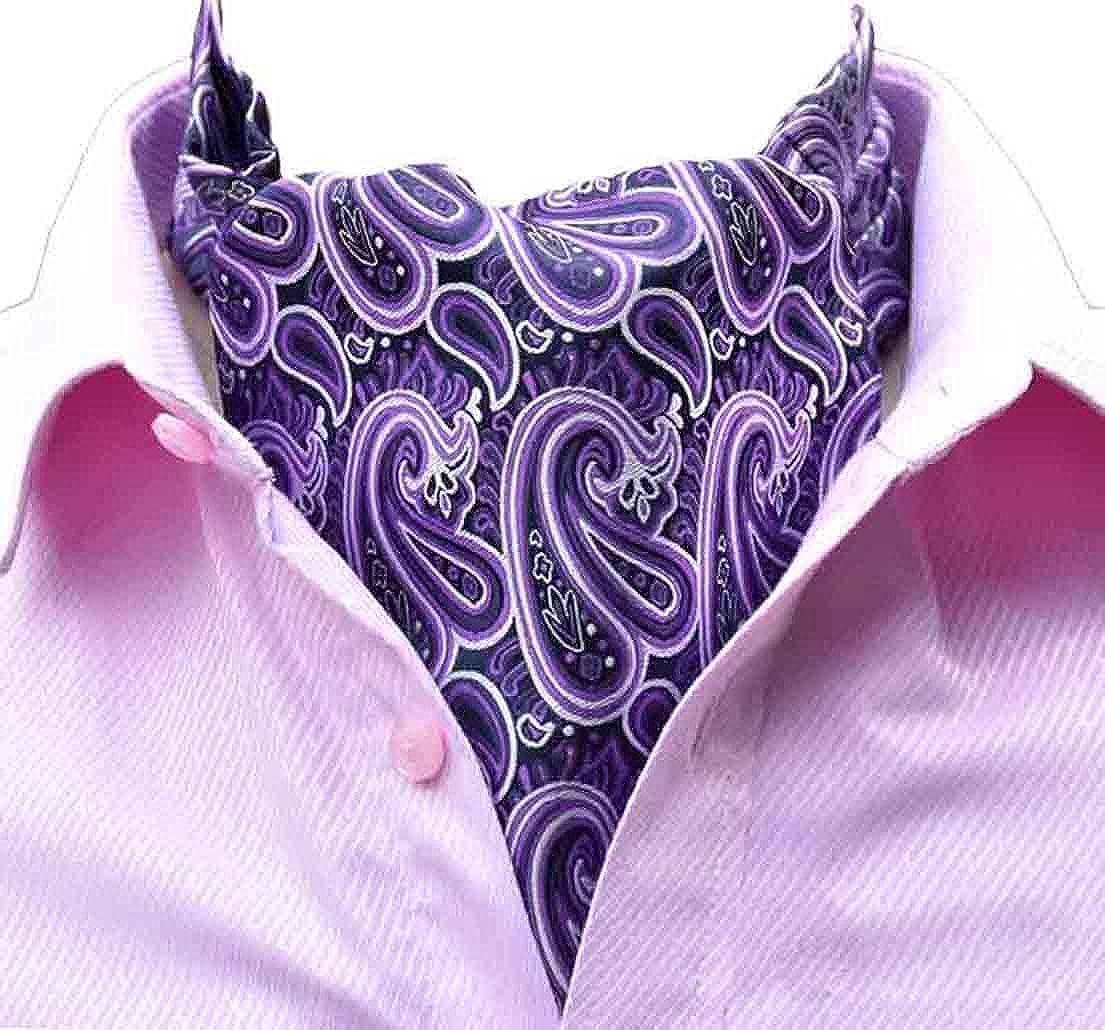 MOHSLEE Mens Paisley Silk Suit Cravat Tie Luxury Ascot Necktie Pocket Square Set
