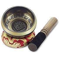 BeGrit Tibetische Klangschale Klangschalen Set einstellen Kupfer Heilende Schüsseln 9,5 cm fürYoga Meditation Entspannung Massage Wellness Heilung Chakra A Balancing Buddhismus mit Klöppel und Klangschalenkissen.
