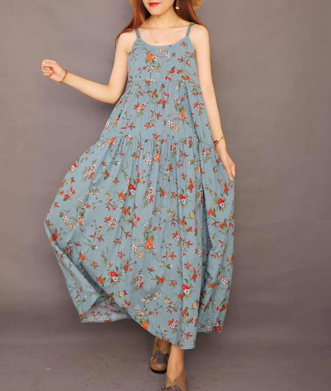 YESNO Women Casual Loose Bohemian Floral Print Dresses Spaghetti Strap Long Maxi Summer Beach Swing Dress XS-5X E75