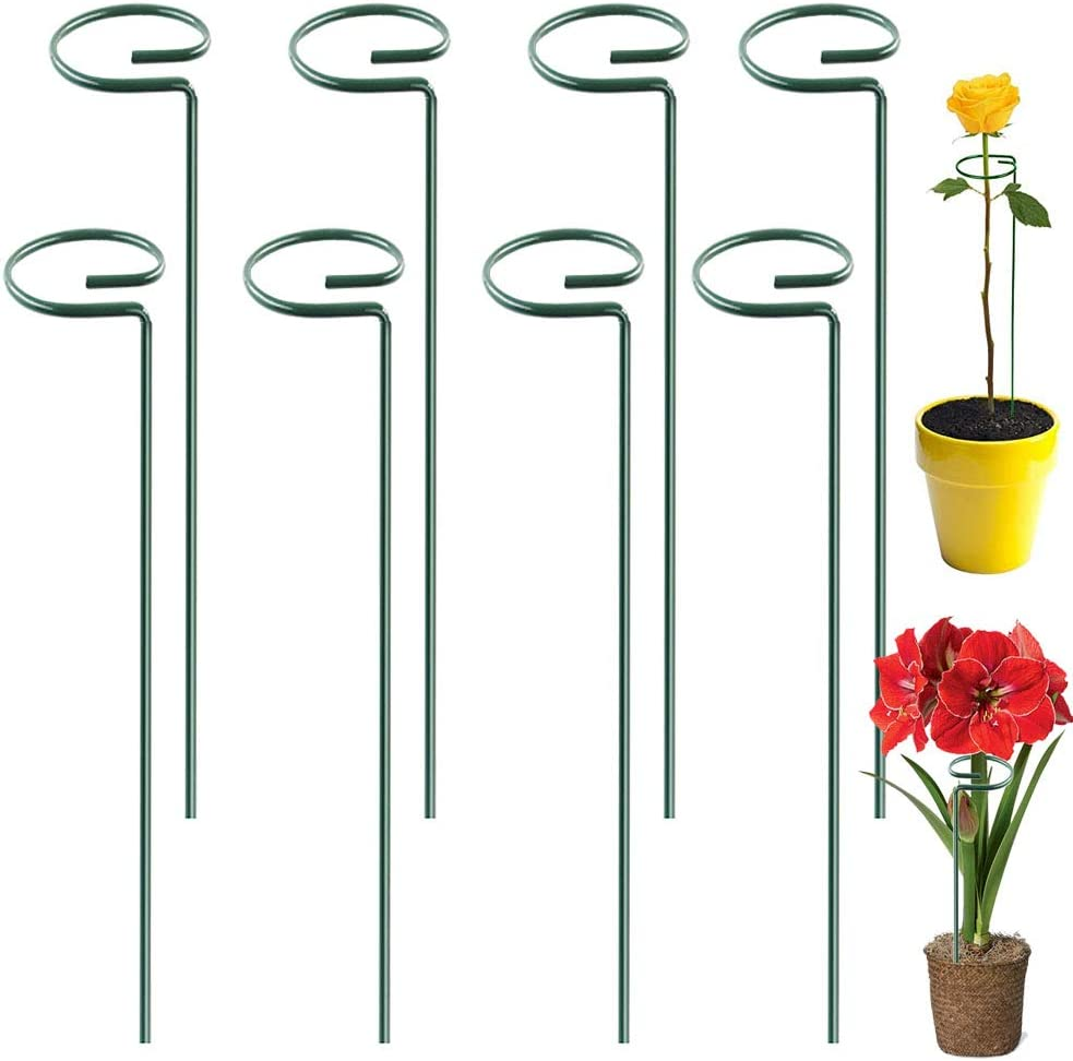 Guuozzli 8 Pack Plant Support Stakes,16 Inch Single Metal Stem Support,Garden Stakes for Tomato,Flowers,Rose,Orchid,Lily,Peony