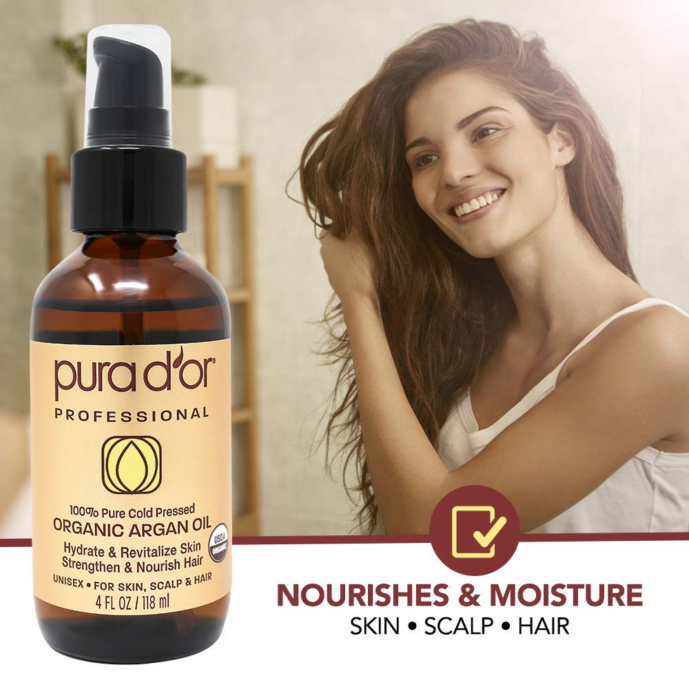 PURA D'OR (4 oz) Organic Moroccan Argan Oil 100% Pure Cold Pressed, USDA Certified Organic, All Natural Anti-Aging Moisturizer Treatment for Face, Hair, Skin & Nails, Men & Women (Packaging may vary) by PURA D'OR (Image #6)
