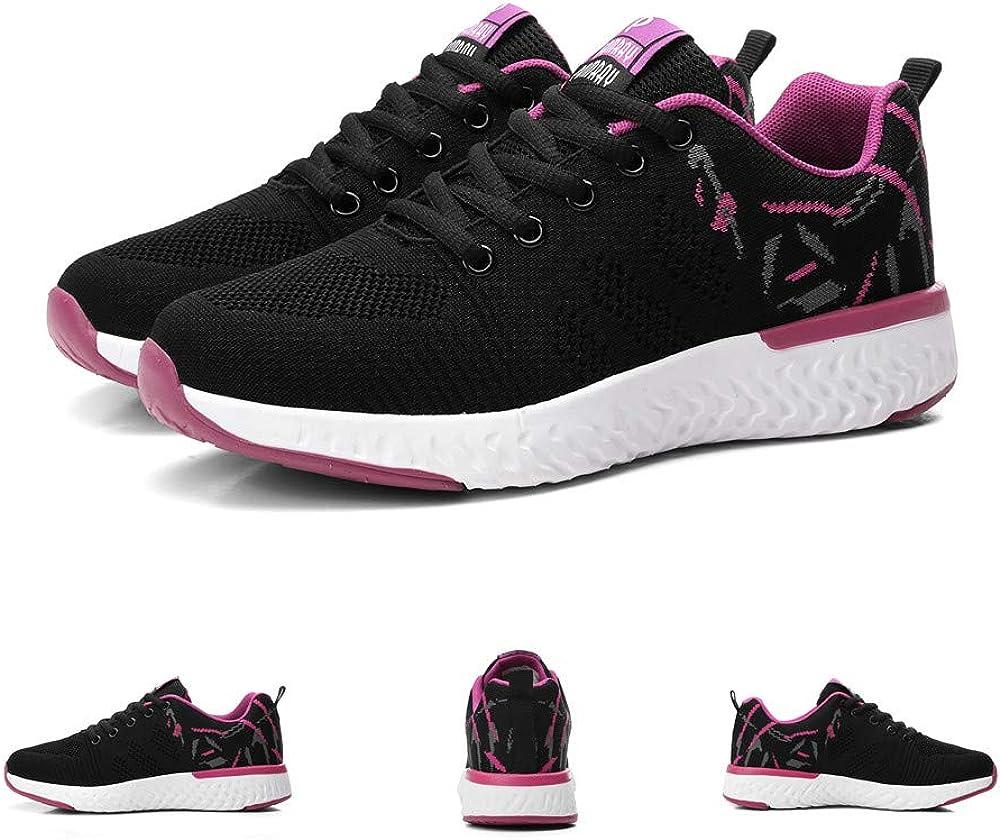 Femme Chaussures de Course Sport Basket de Running Basses Trail Athletique Mesh Lacets Gym Fitness Sneakers Outdoor Noir Vert Rose EU 35-41 Rose