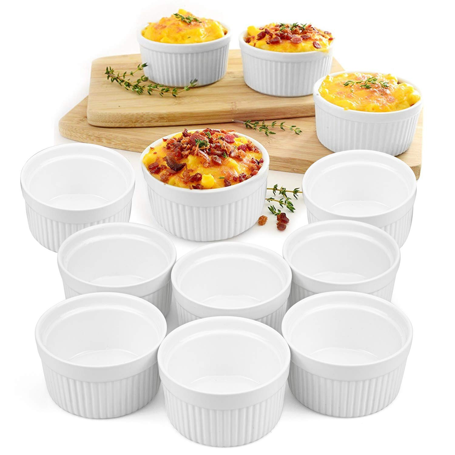 Foraineam Set of 12 Pcs Ramekins Bakeware Set, 6 oz. White Porcelain Souffle Dishes Dessert Custard Baking Cups for Baking, Cooking, Serving and More by Foraineam