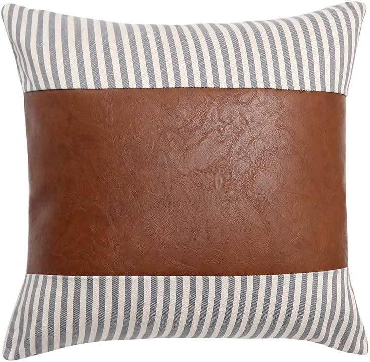 Kiuree Gray Striped Farmhouse Decorative Pillow Covers Faux Leather Accent Pillow Case 20x 20 Neutral Boho Throw Pillows for Couch Sofa Bed Living Room Modern Decor (Grey)