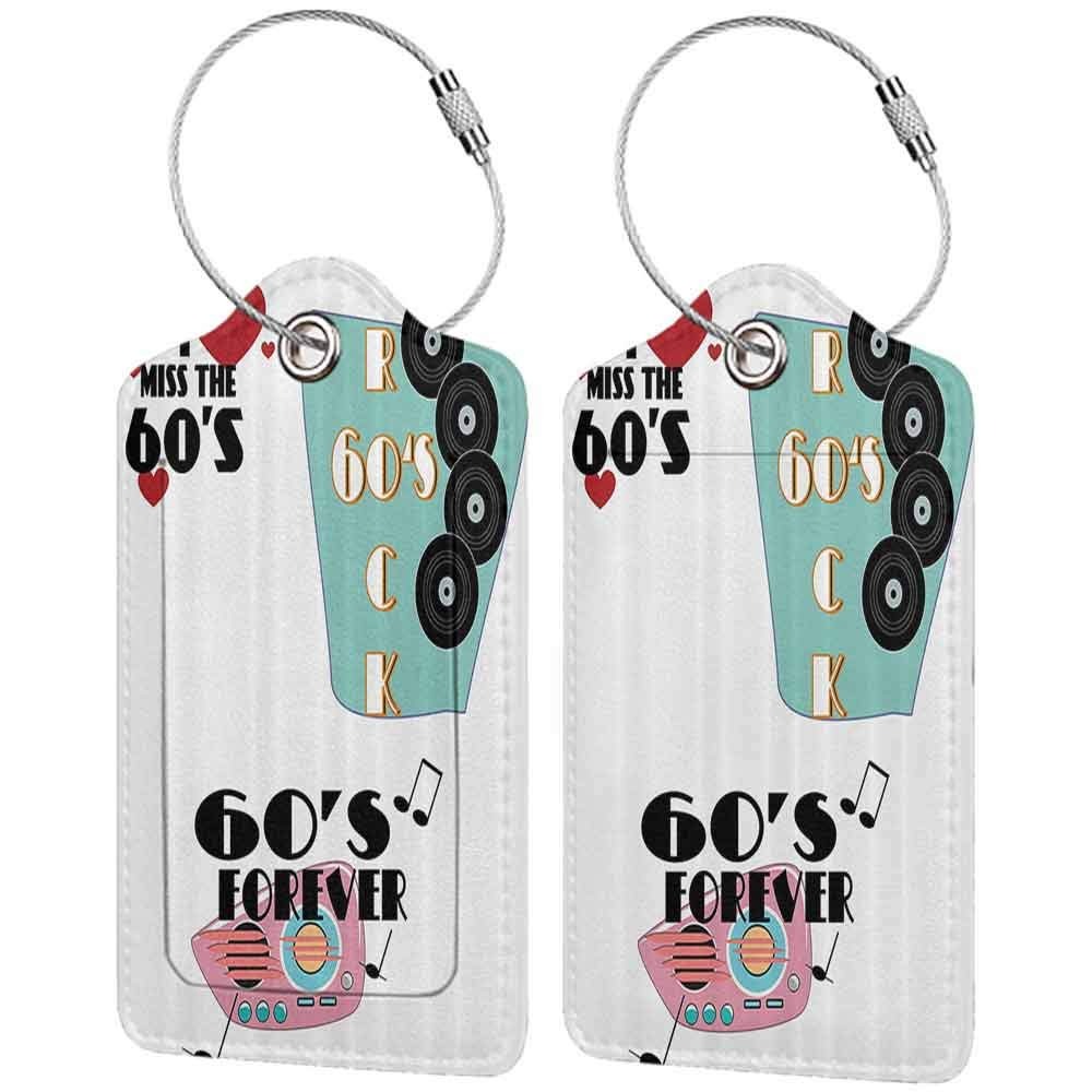 Personalized luggage tag 1960s Decorations Collection Quotes Sixties Rock and 60s forever Messages Hearts Memories Nostalgia Design Easy to carry Red W2.7 x L4.6