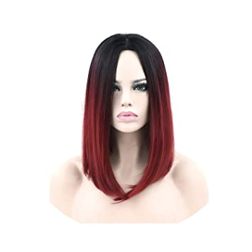 Amazon Com 11 Colors Synthetic Hair Black To Red Ombre Hair