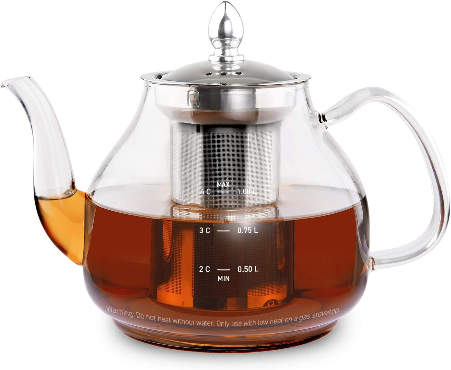 COSORI Glass Teapot Scale Line & Removable Stainless Steel Infuser Stovetop Safe Gooseneck Kettle for Blooming and Loose Leaf Tea Brewer, BPA Free Durable Borosilicate, 1000mL