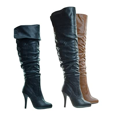 f5e25d3fa26 High Heel Stretch Wrinkled Slouchy Dress Boots. Over-The-Knee Thigh High