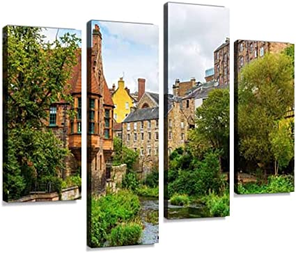 Canvas Wall Art Dean Village Along The River Leith In Edinburgh Scotland Edinburghs Classic Painting Picture Digital Print Wooden Framed Artwork Home Gallery Wrapped Decoration Gift 4 Panels Amazon Co Uk Kitchen Home