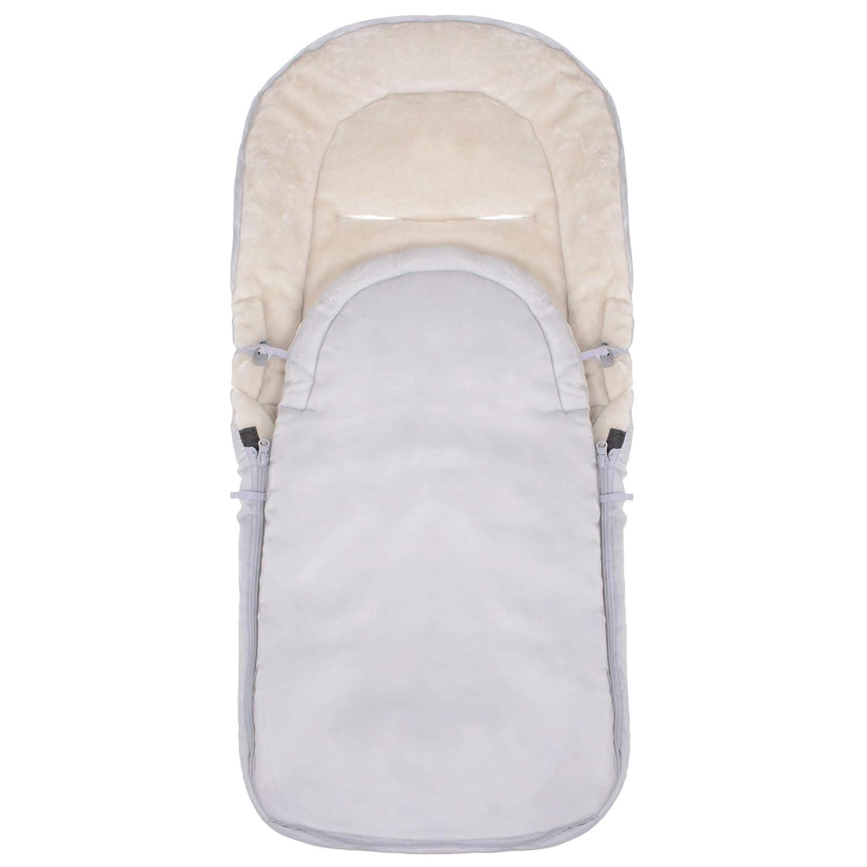 Springos Fußsack 90x43 Cm Fleece Winterfußsack Winterschlafsack Schlafsack Für Baby Kinderwagen Schlitten Rodeln Warm Grau Beige Baby