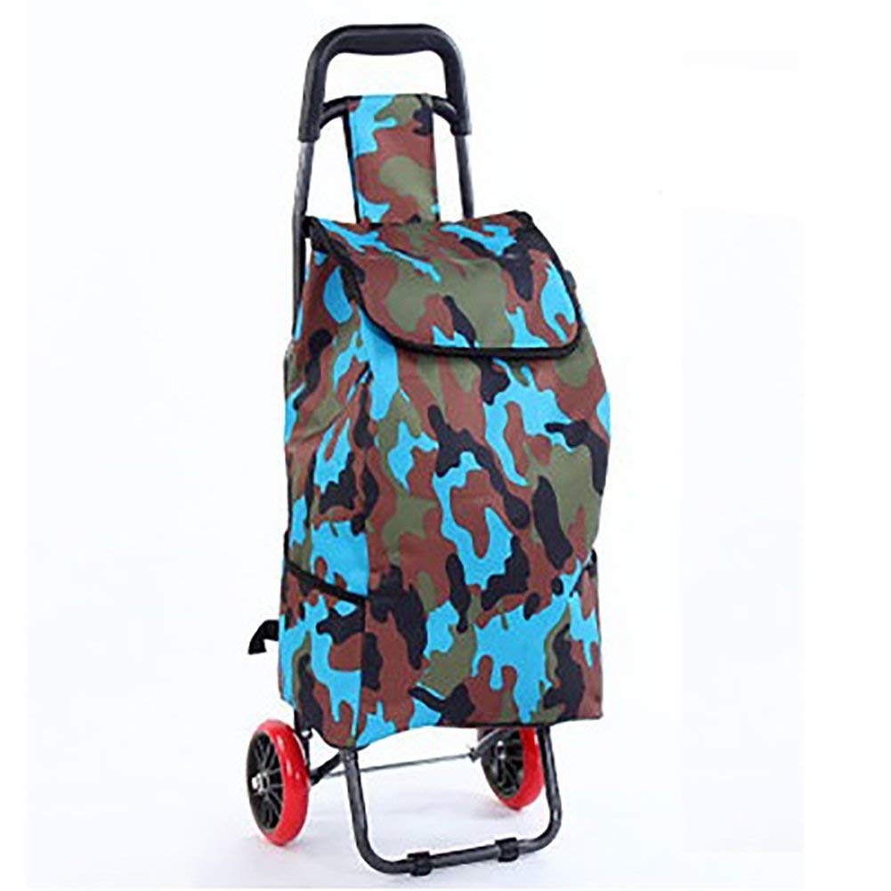 Zehaer Portable Trolley, ZGL Trolley Multifunctional Shopping Cart Solid Durable Trolley Portable Fold Pull Rod Car Effort Trolley Pull Goods Hand Car Hand Car (Color : Style-4, Size : Blue Wheel)