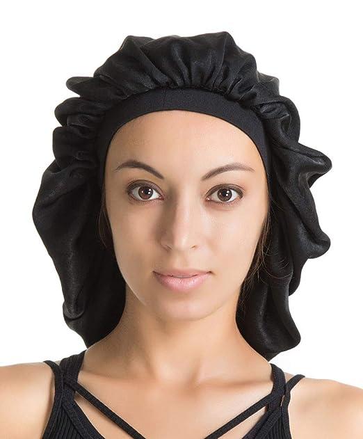 Satin Silk Bonnet Sleep Cap - Black Soft Extra Large Wide Band S Women  Night Hat ca23f981829