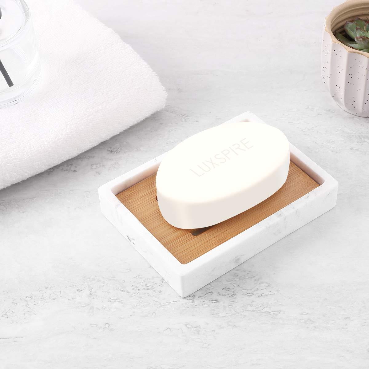 Luxspire Portasapone con Chip di bamb/ù Bianco Vassoio Resina Custodia Rotonda per Portasapone Contenitore per Sapone Drenante a Doppio Strato per Bancone del Bagno Cucina