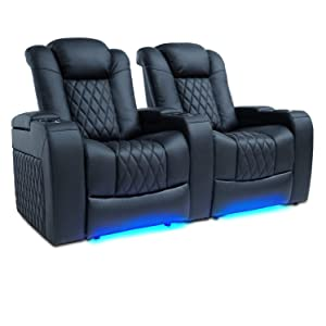 Valencia Tuscany Top Grain Nappa Leather Power Reclining, Power Lumbar, Power Headrest Home Theater Seating (Row of 2, Black)