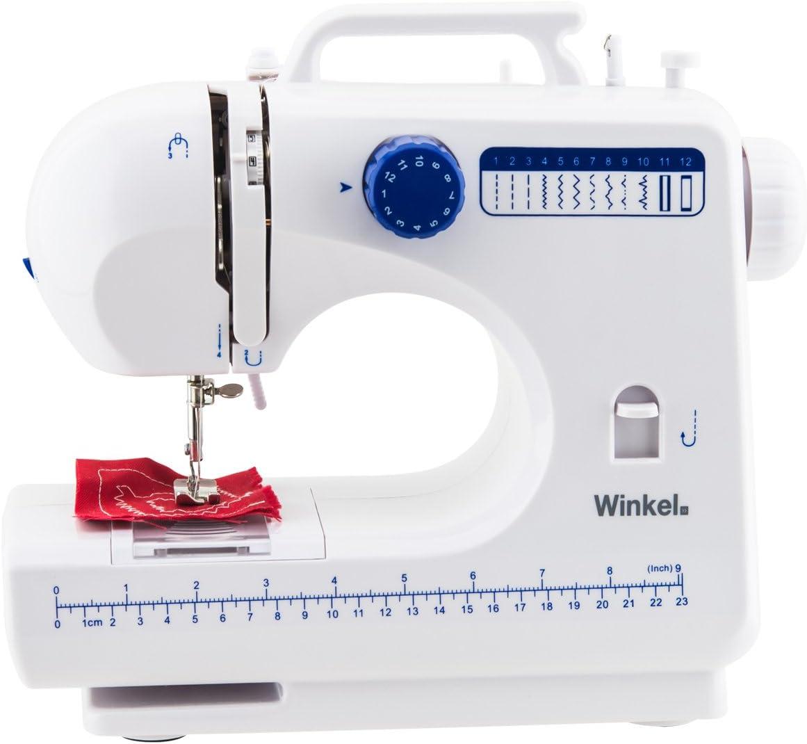 WINKEL SW45 Máquina de Coser mecánica, 12 Puntadas, con LED para iluminar, Blanco y Azul, 30x11x26 cm, Algodón, 30 X 11 X 26 Cm