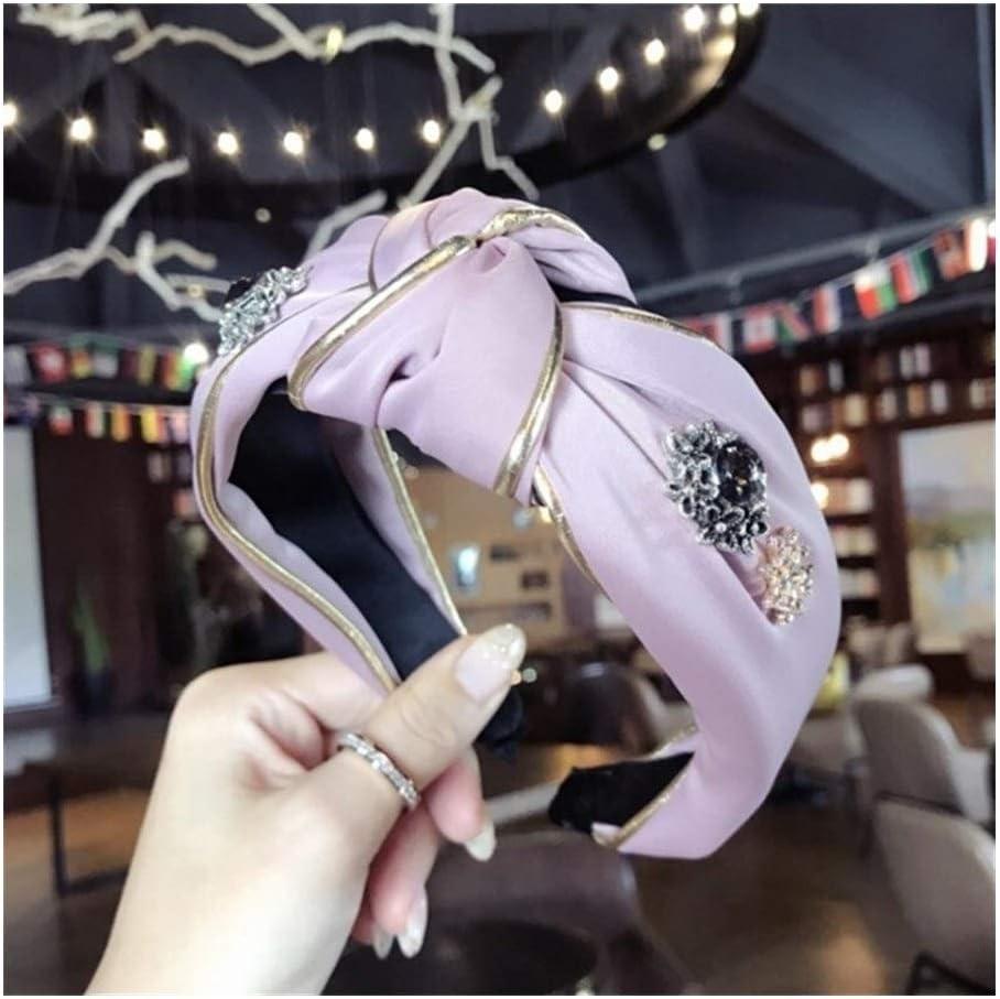 YUNGYE Hair Boutique Complementos Mujer Diamantes Tela con Montura De Oro Super Flash Media Anudada De ala Ancha Hairband De La Venda (Color : Pink)