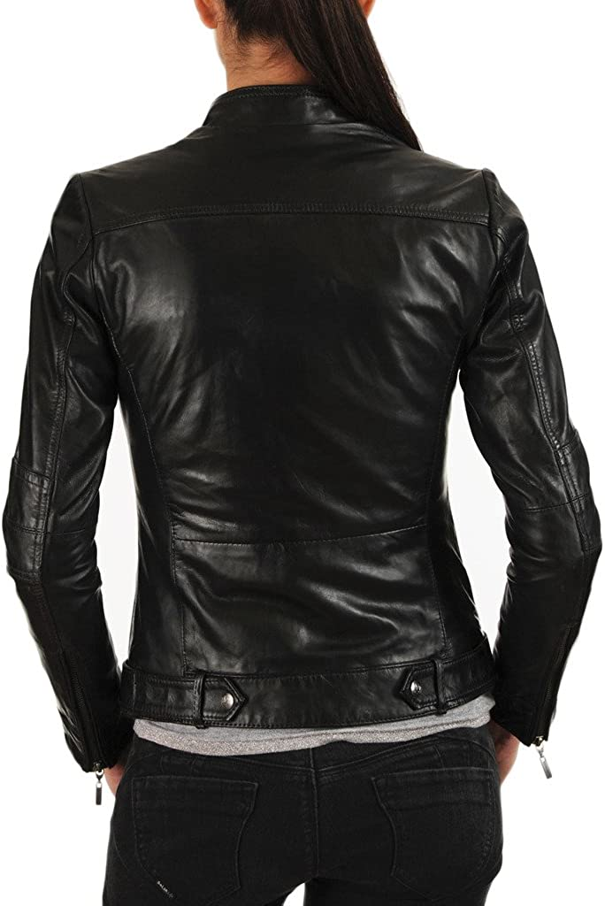 New Womens Motorcycle Genuine Sheep Leather Party Jacket LFW243