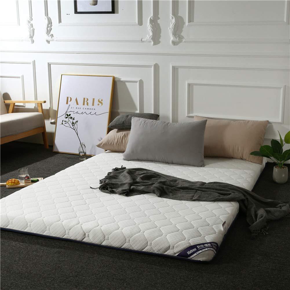 bluee-White 90x200x6cm Hotel Mattress Topper, Thicken Tatami Cotton Silent Mattress Floor Mat Foldable Twin Bed Roll Multi-Size-bluee-White 90x200x6cm