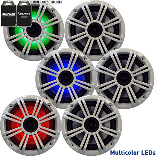 Kicker 6.5 White LED Marine Speakers (QTY 6) 3 pairs of OEM replacement speakers