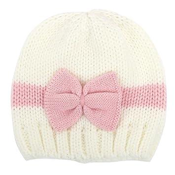 fletion Joven Bebé Niña Invierno Caliente Gorro Para Niños Algodón gorros Sombreros Weiß+Rosa talla