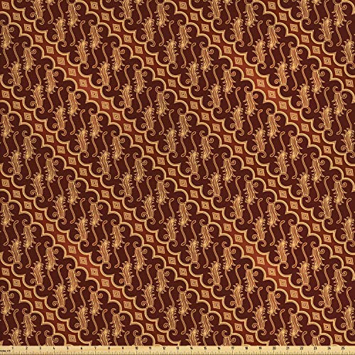 Indonesian Batik Fabrics - Ambesonne Brown Fabric by The Yard, Batik Parang Barong Diagonal Pattern Indonesian Culture and Art Design, Decorative Fabric for Upholstery and Home Accents, 1 Yard, Brown Apricot Caramel