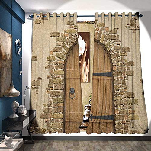 (Thermal Insulating Blackout Curtain Wine Cellar Entrance Stone Arch Ancient Architecture European Building Blackout Draperies for Bedroom W120 x L84 Sand Brown Pale Brown)