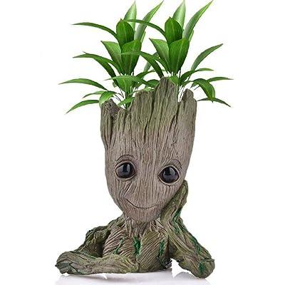 Groot Flowerpot Cartoon Flowerpot Character Cute Model, Succulent Flowerpot Cute Green Plant Flowerpot, Pen Holder with Hole(Meditation): Garden & Outdoor