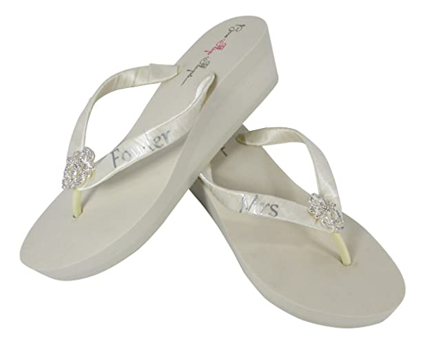 a730455363577 Amazon.com  Mrs Last Name Wedding Flip Flops in White or Ivory and 3 Heel  Heights  Handmade