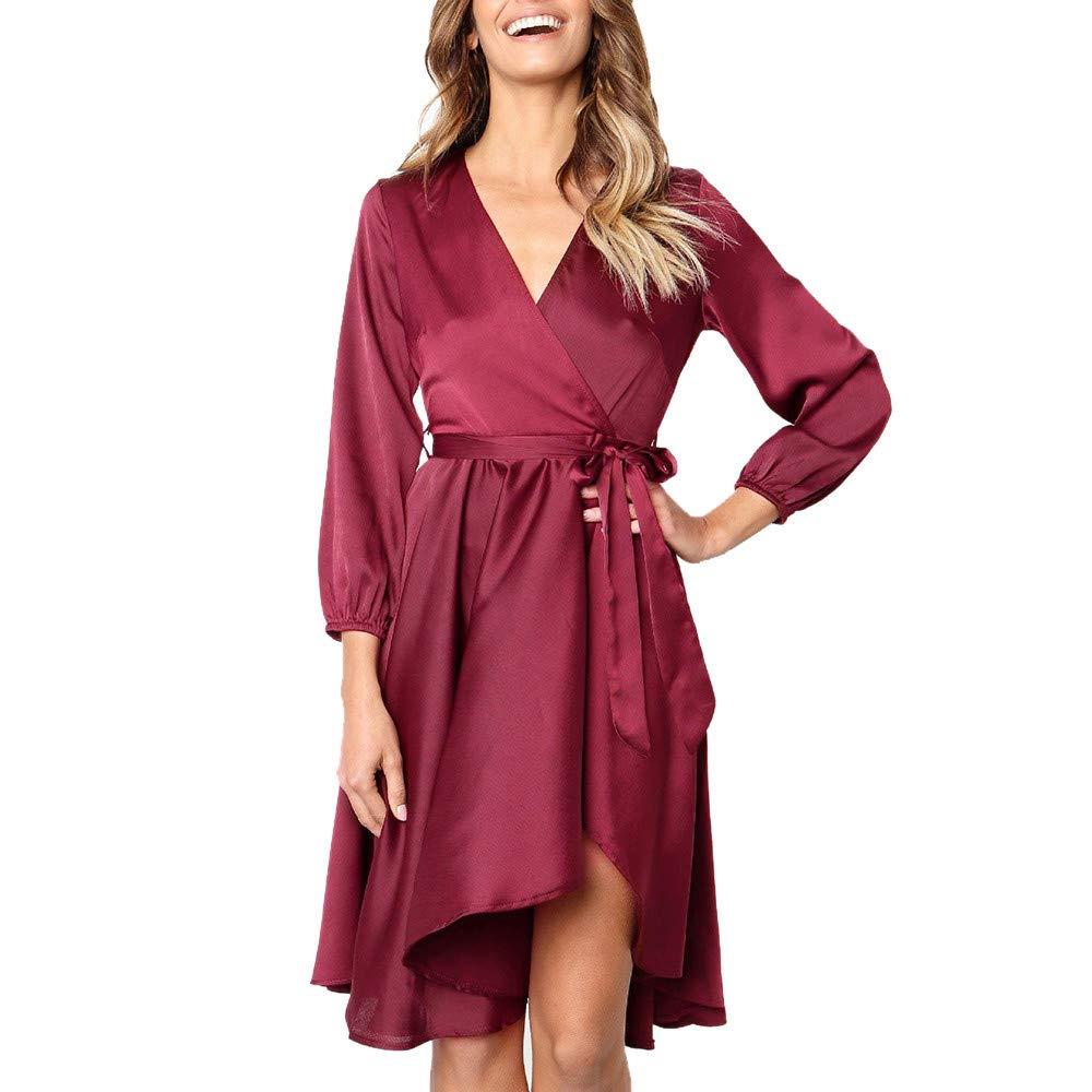 Nadition Dress for Womens Sexy V-Neck Long Sleeve Bow Belt Bandage Party Dress Solid Flowy Hem Dress