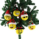 Wewill 6 Pieces Emoji Plush Toy Christmas Balls Ornaments Emotion Face Hanging Decorations, 5.5 Inch