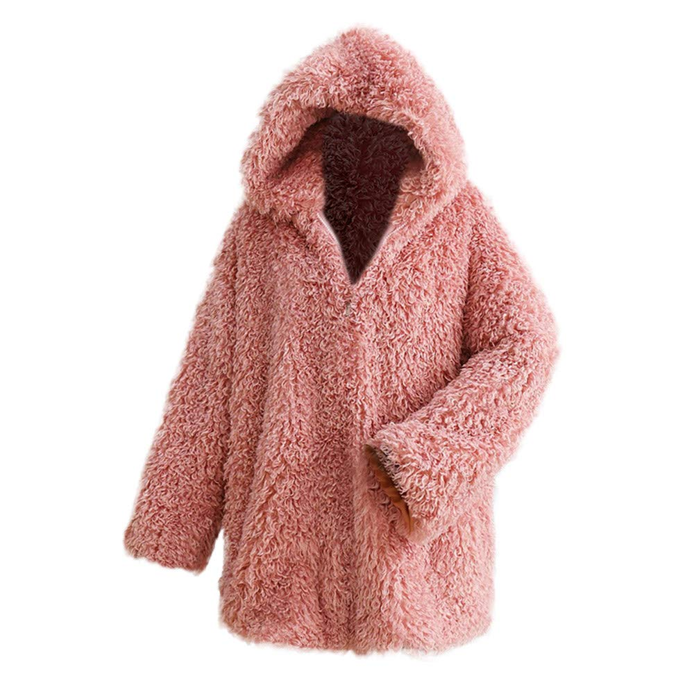 Clearance Sale FEDULK Winter Warm Women Hooded Faux Fur Solid Colour Open Front Cardigan Jacket(Pink,US Size S = Tag M) by FEDULK
