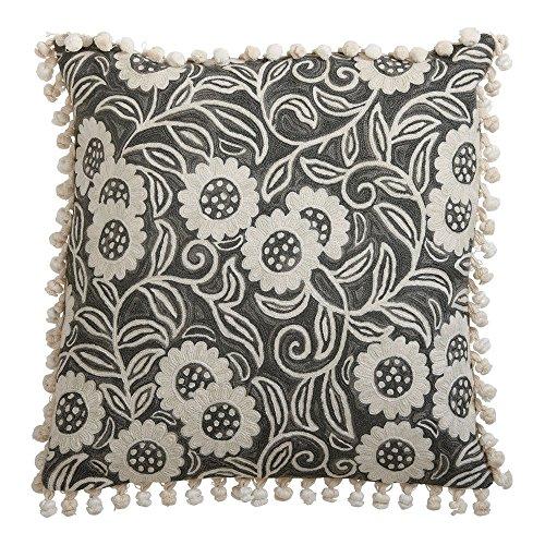 Crewel Cotton Pillow - Ethan Allen Crewel Sunflower Vine Pillow, Gray