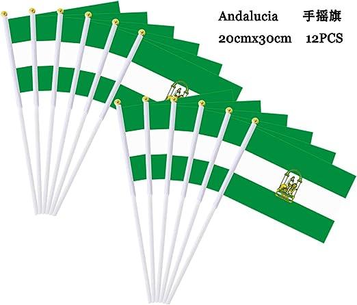 Durabol 12PCS Bandera de Mano de Andalucia Comunidades autónomas de España (20X30CM) (Andalucia): Amazon.es: Jardín