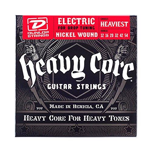 Dunlop DHCN1254 Heavy Core Nickel Wound Guitar Strings, Heaviest, .012–.054, 6 (Heavy Electronics)