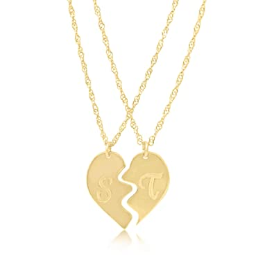 56680ee6cd Amazon.com: Friendship Necklace 18k Gold Plated Broken Heart Initial ...