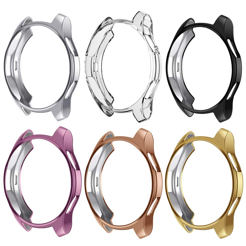 Case Compatible Samsung Galaxy Watch 42mm, NaHai TPU Slim Plated Case Shock-Proof Cover All-Around Protective Bumper Shell for Galaxy Watch 42mm Smartwatch, 6 Packs by NAHAI