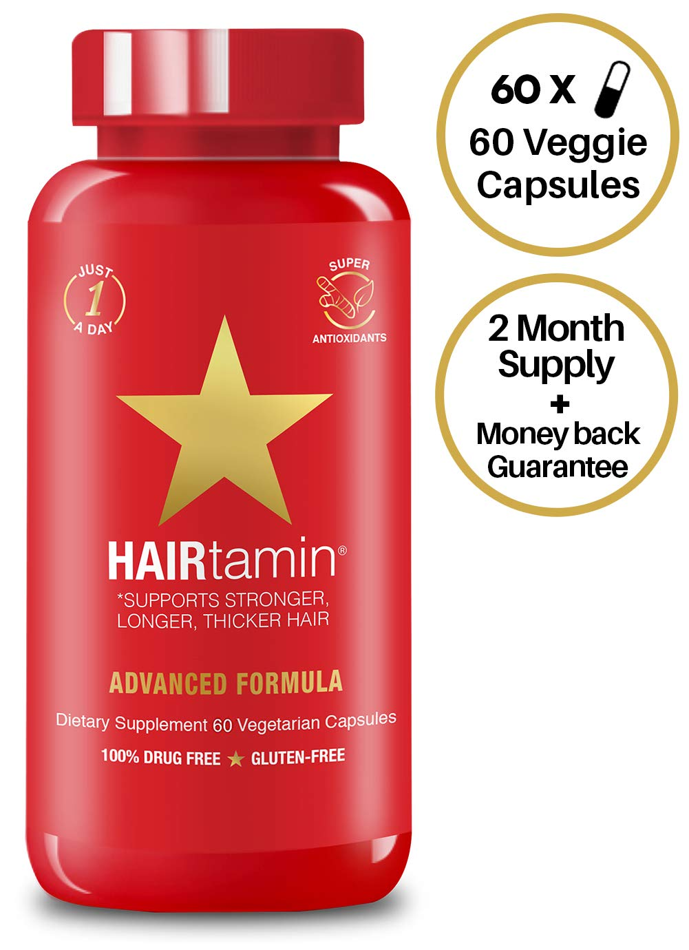 HAIRtamin Biotin Hair Growth Vitamins - Best Hair Skin and Nails Vitamins, All Natural Daily Multi-Vitamin Supplements for Thicker Fuller Healthy Hair, Strong Nails, Skin (2 Month Supply, 1-A-Day)