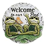 Welcome to Our Pad Frogs 10 x 10 Inch Resin Decorative Stepping Stone