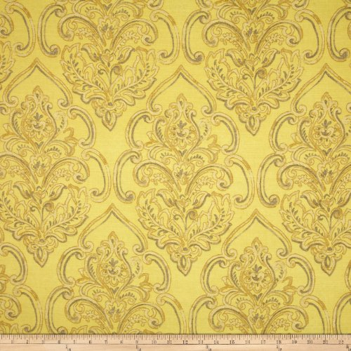 (Duralee Home William Damask Yellow, Fabric by the Yard )