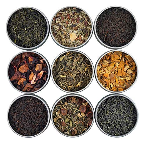 Heavenly Tea Leaves Organic Loose Leaf Tea Sampler Set, 9 Assorted Loose Leaf Teas & ()