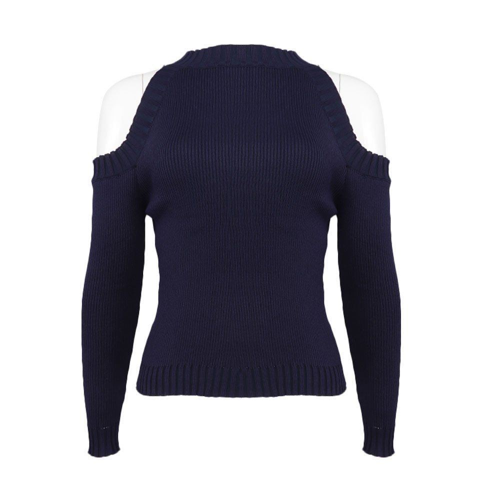 Womens Long Sleeve Sweaters Cold Shoulder Pullovers Casual Slim Fit Shirts Solid Jumper Tops Fudule Sweaters