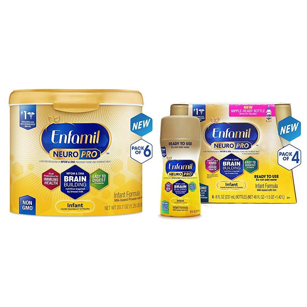 Enfamil NeuroPro Baby Formula Milk Powder, 20.7 Ounce (Pack of 6), Omega 3, Probiotics, Brain Support and Infant Formula - Ready to Use Liquid, 8 fl oz (24 count) Packaging May Vary by Enfamil (Image #1)